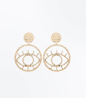 Gold Embossed Disc Eye Earrings