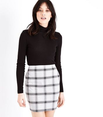 Pale Grey Check Mini Skirt