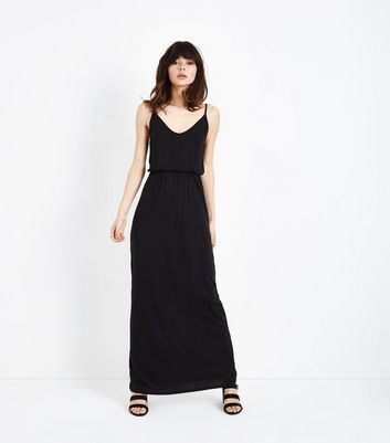 Black Jersey V Neck Maxi Dress