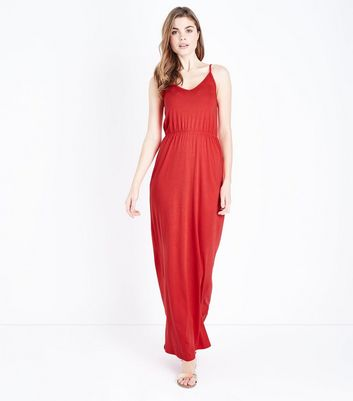 Red Jersey V Neck Maxi Dress