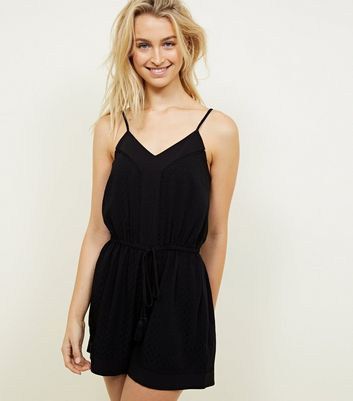 Black Diamond Jacquard Crochet Trim Playsuit