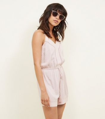 Pink Diamond Jacquard Trim Crochet Trim Playsuit