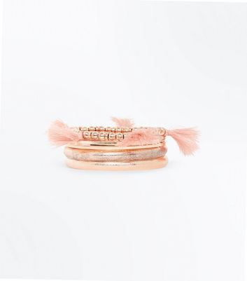 Rose Gold Tassel and Beaded Bangle Pack