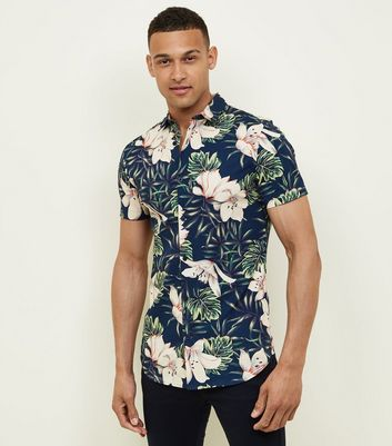 Navy Floral and Leaf Printed Shirt