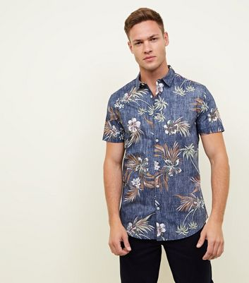 Blue Reverse Washed Floral Muscle Shirt