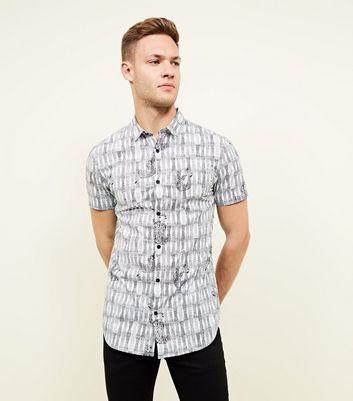 Black Tiger Print Short Sleeve Cotton Shirt