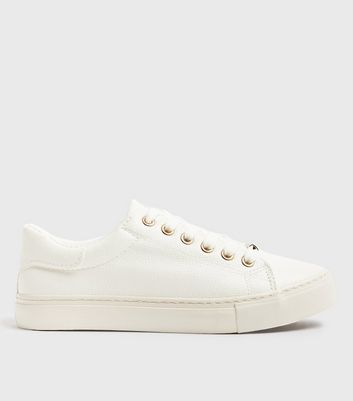 White Leather Look Metal Trim Lace Up Trainers by New Look