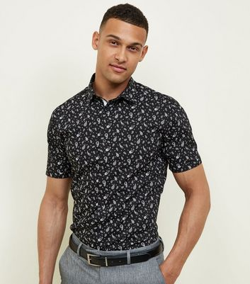 Black Paisley Short Sleeve Shirt