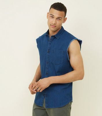 Bright Blue Sleeveless Denim Shirt