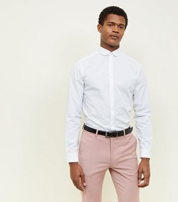 White Poplin Penny Collar Shirt