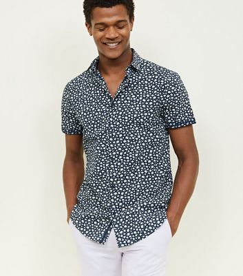 Navy Ditsy Floral Short Sleeve Shirt