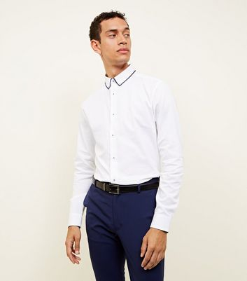 White Textured Double Collar Shirt