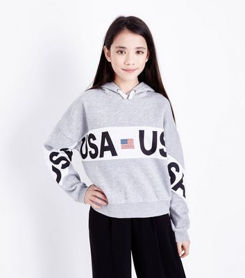 Girls Grey Marl USA Stripe Front Hoodie