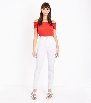 Tall White High Rise Skinny Jeans