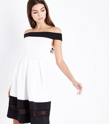Black Colour Block Bardot Neck Skater Dress
