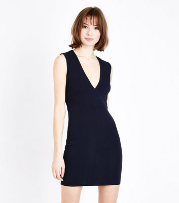 AX Paris Navy V Neck Bodycon Dress