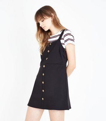 Black Button Front Jersey Pinafore Dress