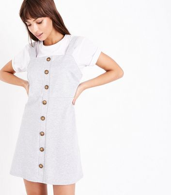 Grey Button Front Jersey Pinafore Dress