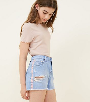 Girls Pale Blue Aztec Trim Ripped Denim Shorts