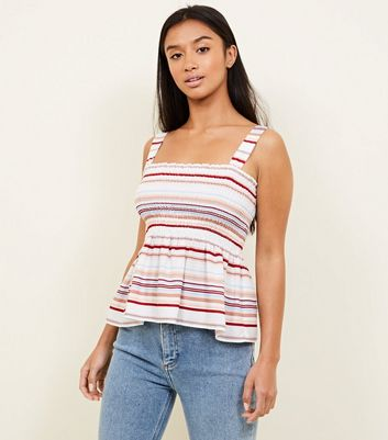 Petite White Stripe Shirred Peplum Cami Top