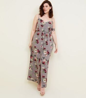 Curves Grey Floral Button Front Maxi Dress