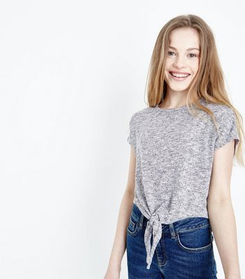 Teens Grey Marl Tie Front T-Shirt