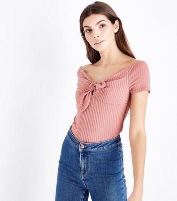 Deep Pink Ribbed Tie Front Bardot Top