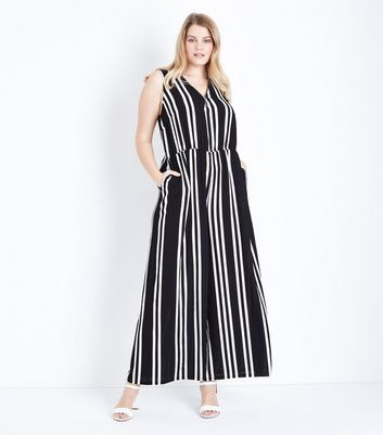 Curves Black Stripe Wide Leg Jumpsuit