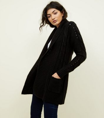 Black Shawl Collar Cable Knit Cardigan