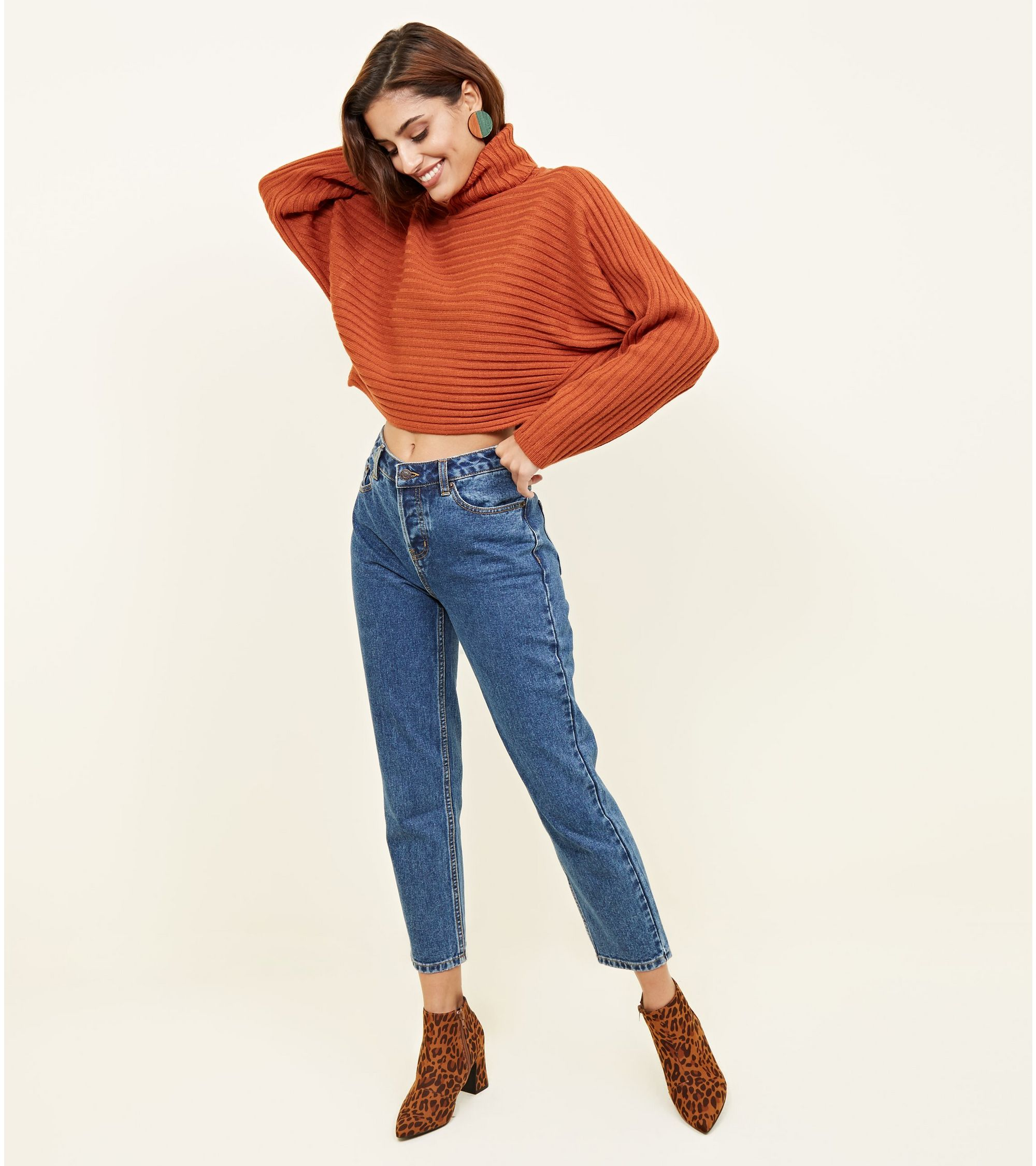 8ce87aa67fd Orange Ribbed Roll Neck Cropped Batwing Jumper