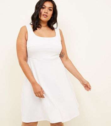 Curves White Square Neck Sleeveless Skater Dress
