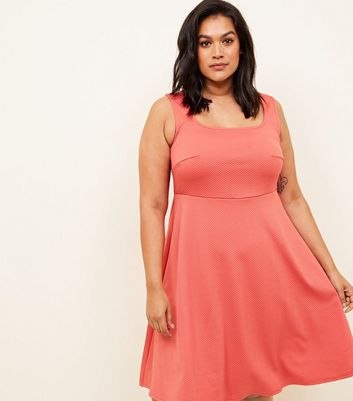 Curves Coral Square Neck Sleeveless Skater Dress