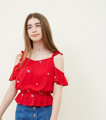 Teens Red Floral Embroidered Cold Shoulder Top