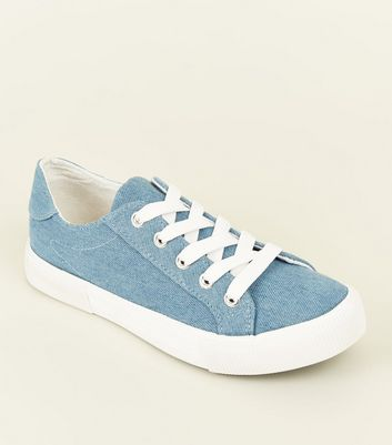 Teens Blue Denim Lace Up Chunky Trainers
