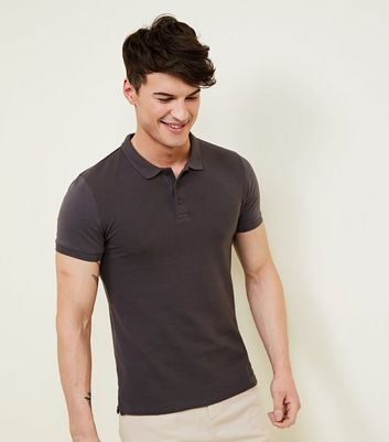 Grey Muscle Fit Textured Polo Shirt
