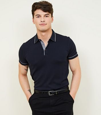 Navy Woven Collar Polo Shirt