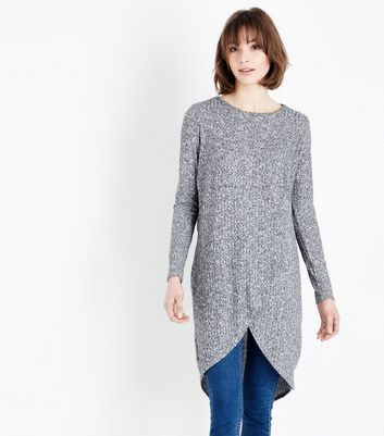Grey Fine Knit Wrap Front Longline Top