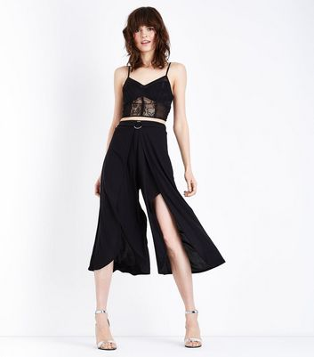 Black Ring Belt Wrap Front Culottes