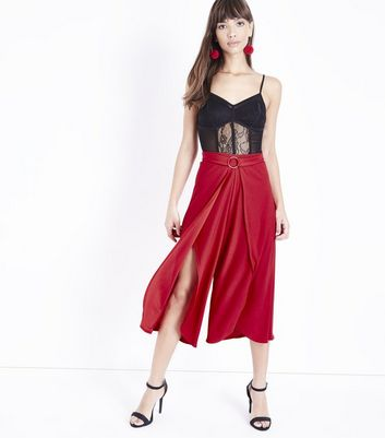 Red Ring Belt Wrap Front Culottes