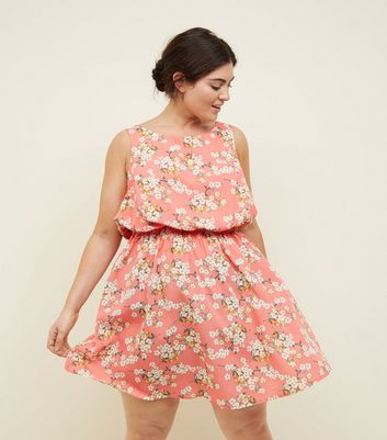 Curves Coral Floral Shirred Waist Sleeveless Dress