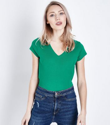 Petite Green V Neck T-Shirt