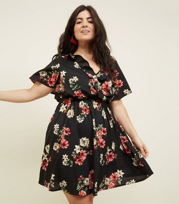 ... Curves Black Floral Ruffle Wrap Front Dress ...