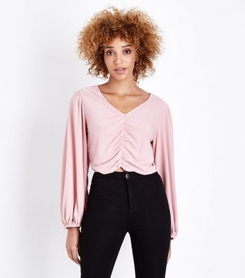 Cameo Rose Pink Ruched Plisse Crop Top