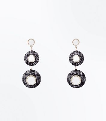 Black Boucle and Pearl Drop Earrings
