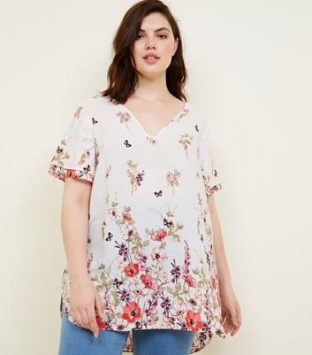 Curves White Floral Tiered Sleeve Blouse