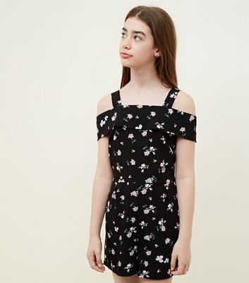 Girls Black Floral Bardot Playsuit
