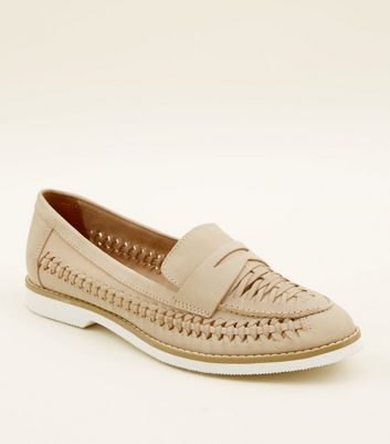 Nude Woven Leather Penny Loafers