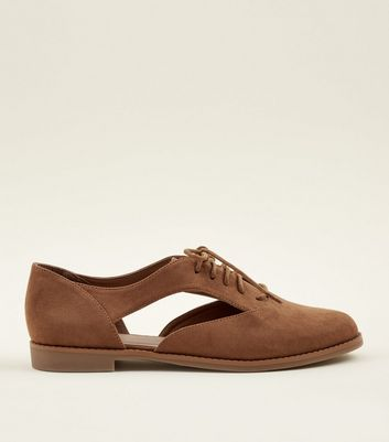 Tan Suedette Cut Out Lace Up Shoes