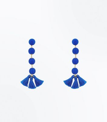 Bright Blue Orb and Tassel Drop Earrings