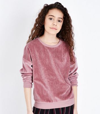 Girls Pale Pink Corduroy Sweatshirt